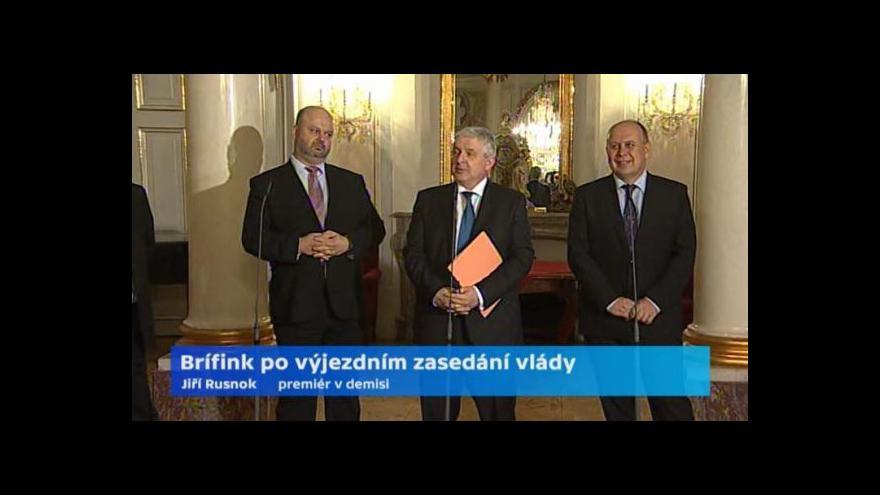 Video Brífink po zasedání vlády v demisi v Židlochovicích