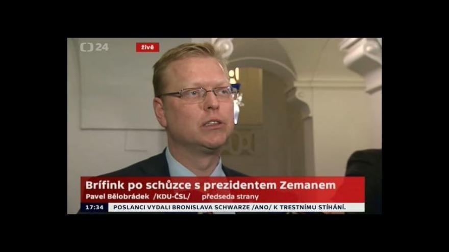 Video Pavel Bělobrádek komentuje schůzku s prezidentem
