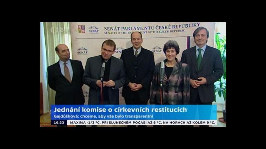Video Brífink k jednání komise o církevních restitucích
