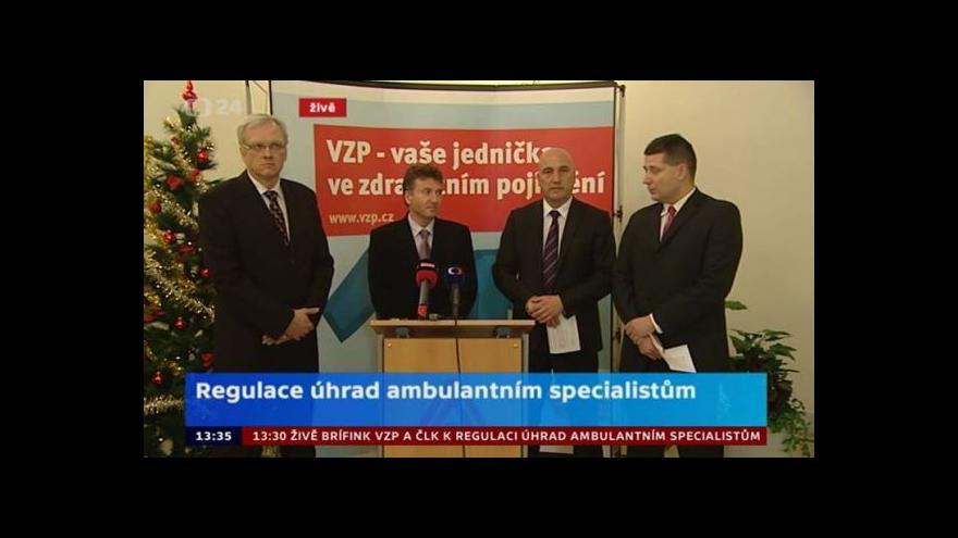 Video Brífink VZP a ČLK k regulaci úhrad ambulantním specialistům za r. 2013