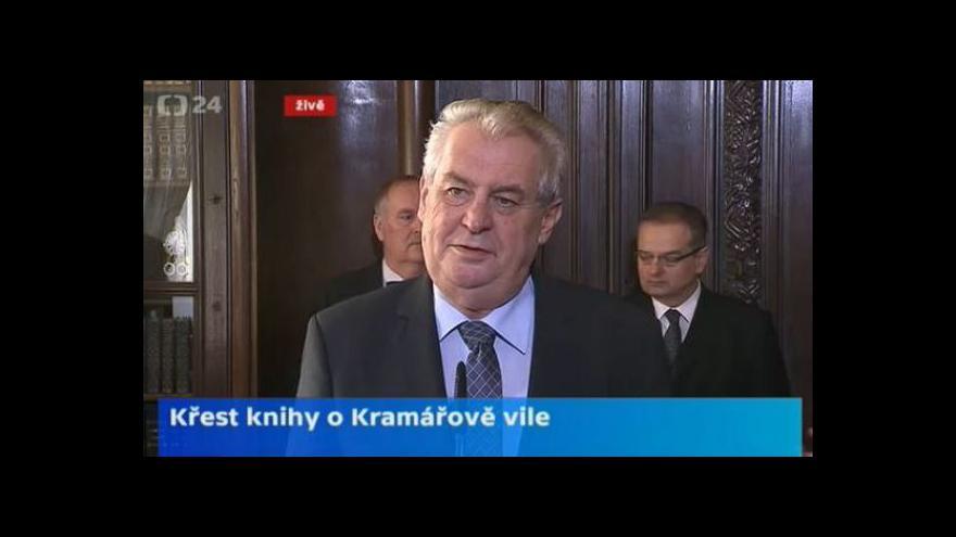 Video Prezident Zeman a premiér v demisi Rusnok pokřtí knihu Kramářova vila
