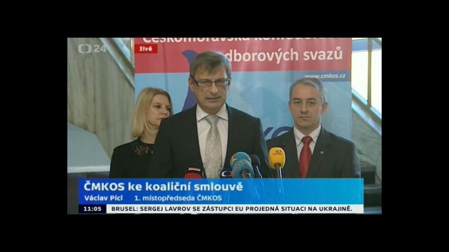 Video Brífink ČMKOS ke koaliční smlouvě ČSSD, ANO a KDU-ČSL