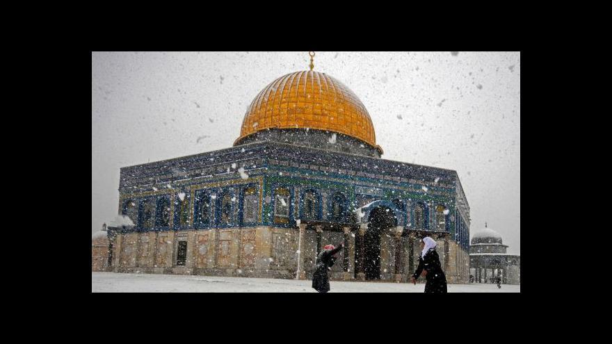 Video Blízký východ se potýká s nezvyklými přívaly sněhu