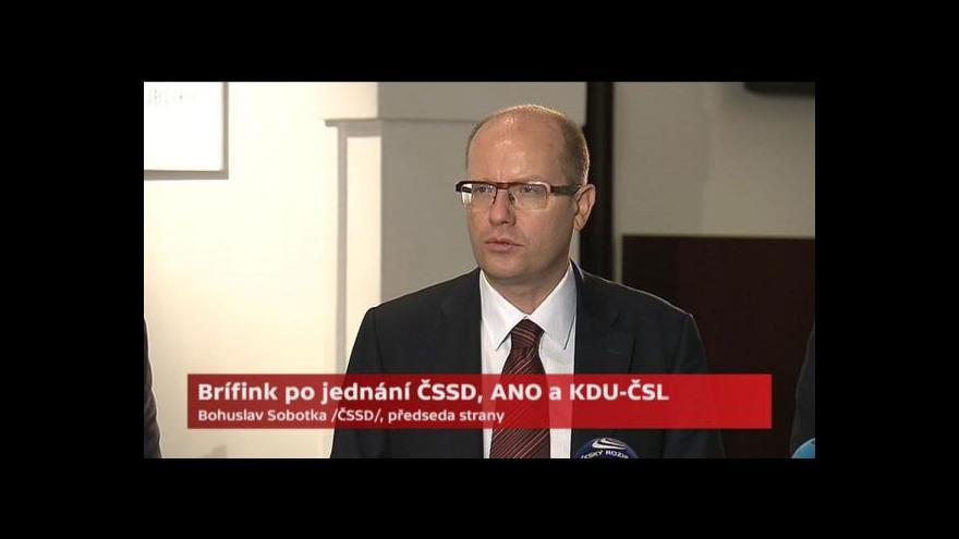 Video Brífink po jednání ČSSD, ANO a KDU-ČSL