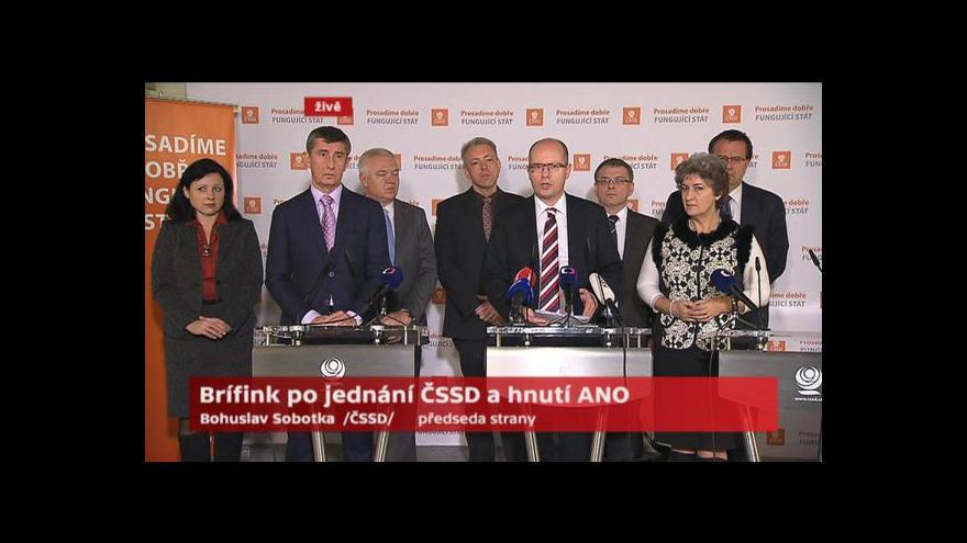 Video Tisková konference po jednání ČSSD a ANO v Lidovém domě