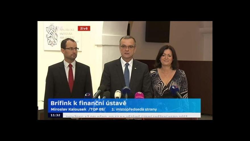 Video Brífink 1. místopředsedy TOP 09 Kalouska k finanční ústavě