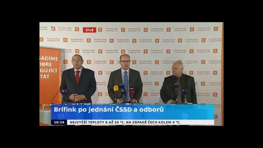 Video TK ČSSD po jednání s odbory