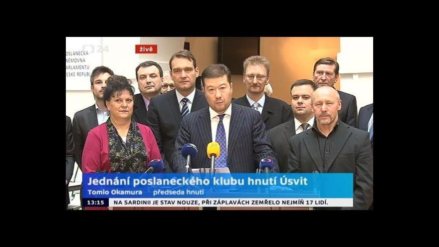 Video Brífink po jednání poslaneckého klubu hnutí Úsvit