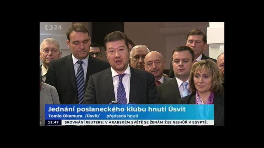 Video Brífink hnutí Úsvit přímé demokracie po jednání poslaneckého klubu