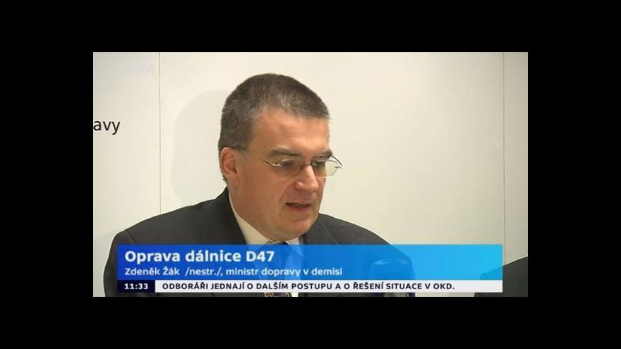 Video Brífink ministra dopravy v demisi po jednání s firmou Eurovia CS o D47