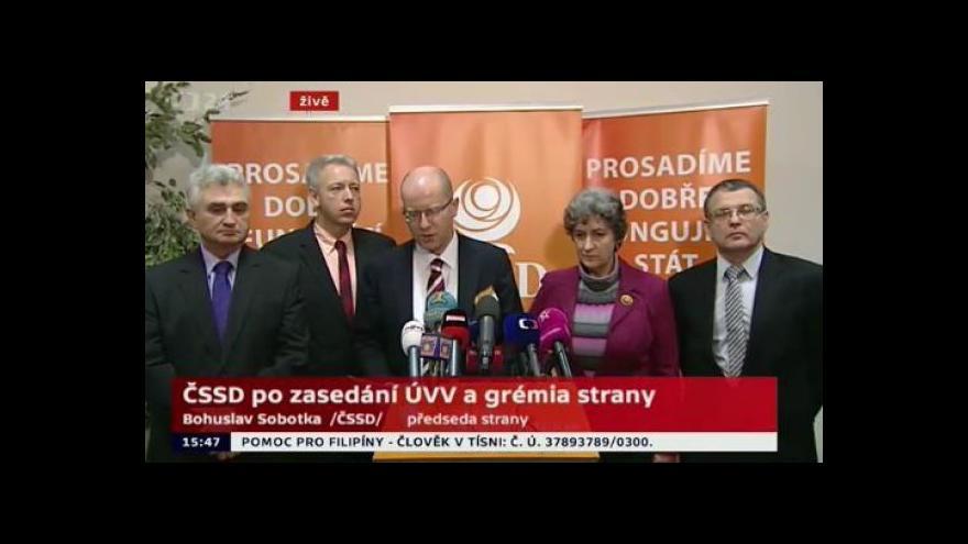 Video Brífink ČSSD po zasedání ÚVV a gremia strany