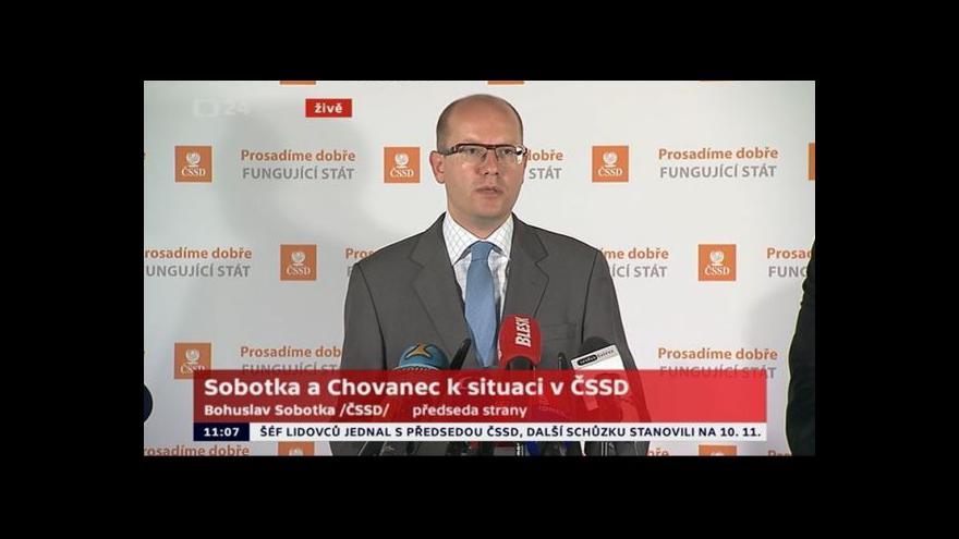 Video Brífink Bohuslava Sobotky a Milana Chovance k situaci v ČSSD