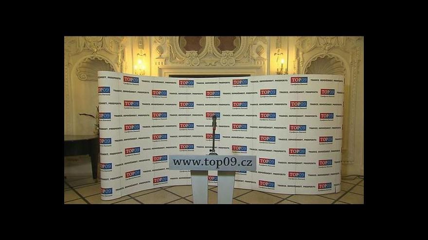 Video Brífink TOP 09 po jednání předsednictva