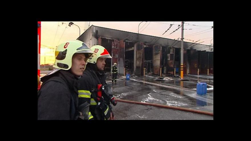 Video Požár trolejbusů v Opavě