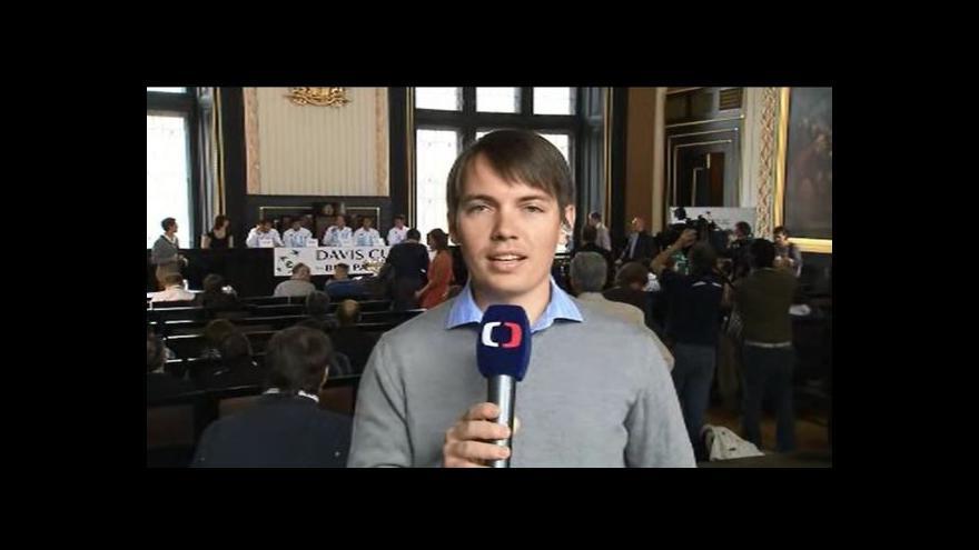 Video Vstup Tomáše Budky z losování semifinále Davisova poháru
