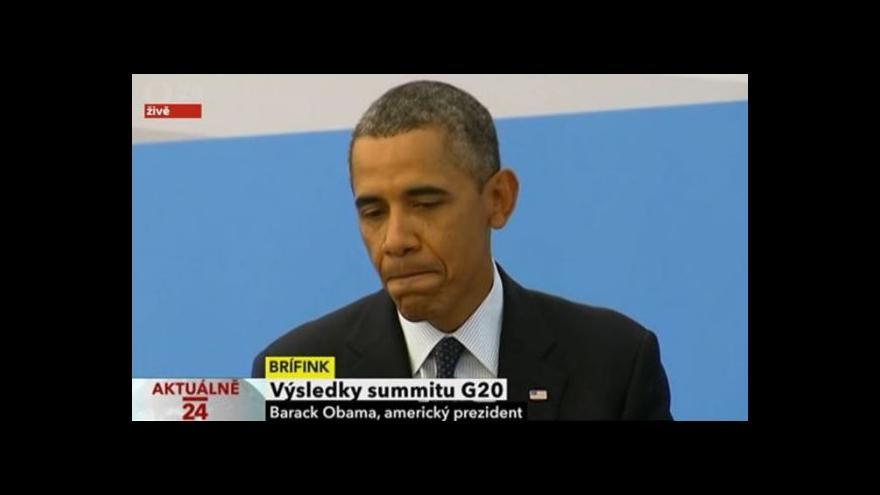 Video Barack Obama po summitu G20