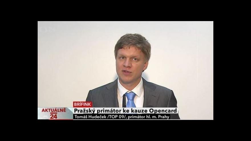 Video Brífink primátora Prahy Hudečka ke kauze Opencard