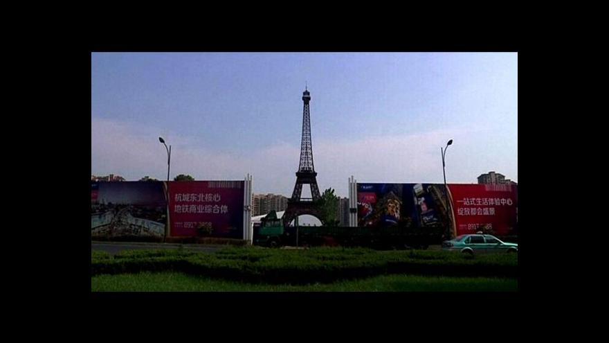 Video Za Eiffelovkou už Číňané nemusí do Paříže, mají vlastní v Šanghaji