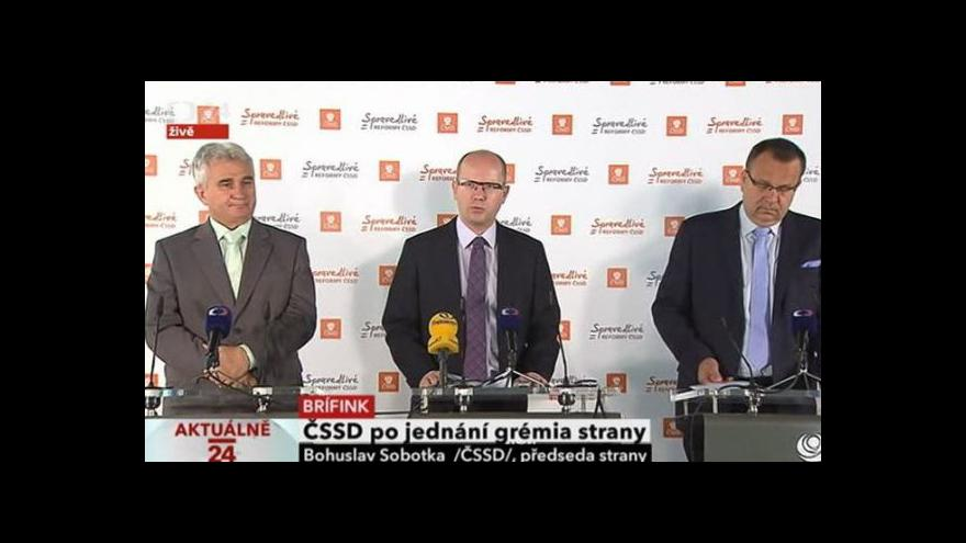 Video ČSSD po jednání gremia strany