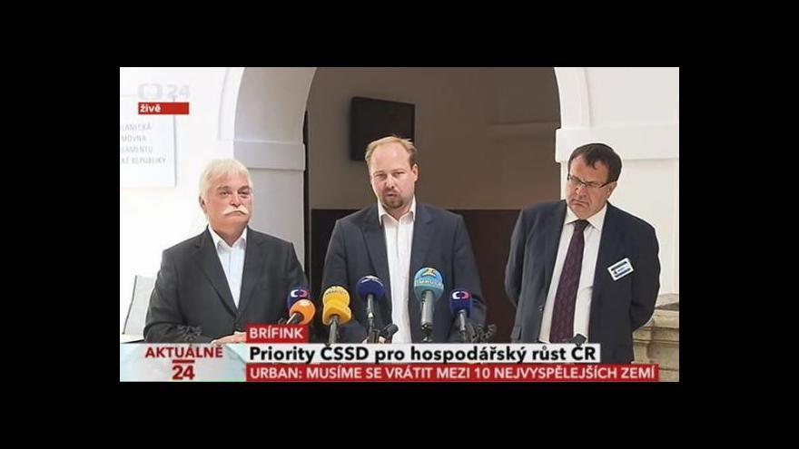 Video Brífink ČSSD k hospodářskému růstu ČR
