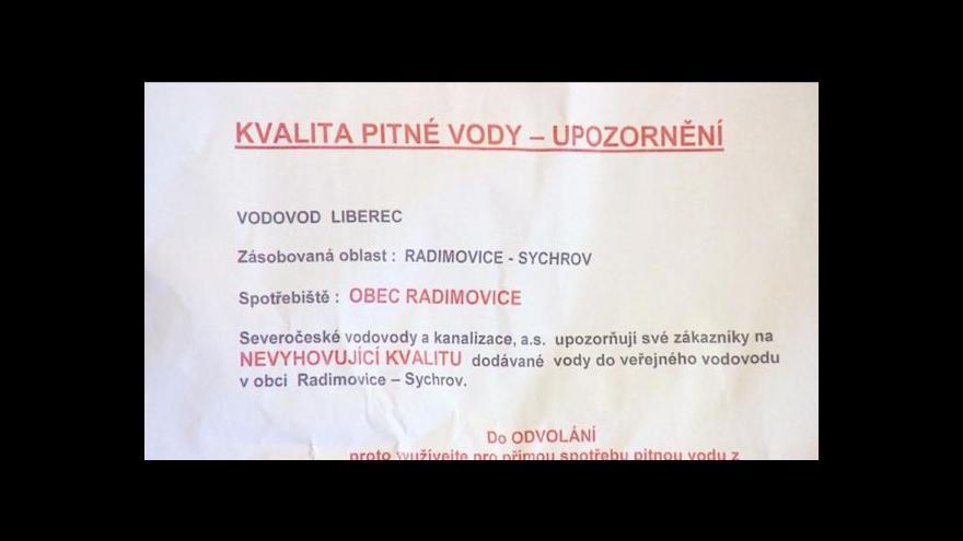 Video Obyvatelé Radimovic si stěžují na kvalitu pitné vody