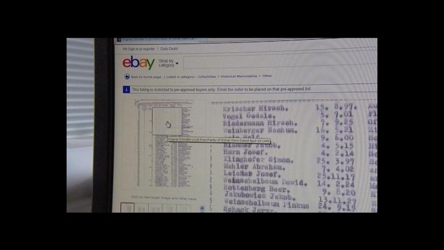 Video Schindlerův seznam je v aukci