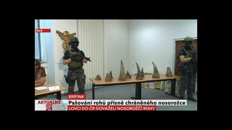 Video Brífink Celní správy, ČIŽP a Policie ČR k největšímu odhalenému případu pašování rohů přísně chráněného nosorožce