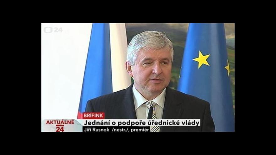 Video Brífink k jednání o podpoře úřednické vlády