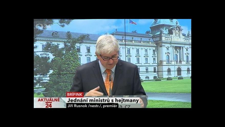 Video Brífink premiéra Rusnoka po jednání s Asociací krajů ČR