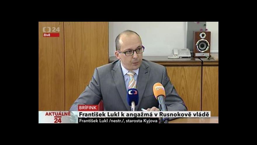 Video František Lukl k angažmá v Rusnokově vládě