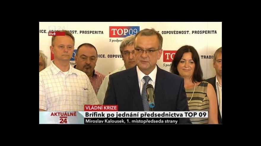 Video Brífink po jednání předsednictva TOP 09