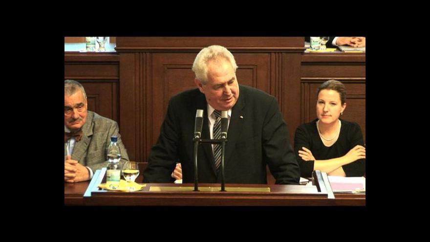Video Projev prezidenta Miloše Zemana v Poslanecké sněmovně