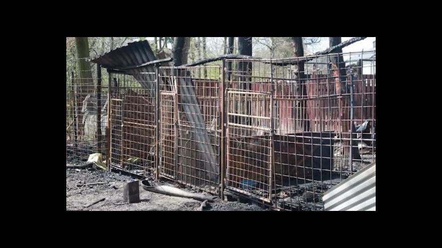 Video V Chomutově vyhořely kotce kynologického klubu
