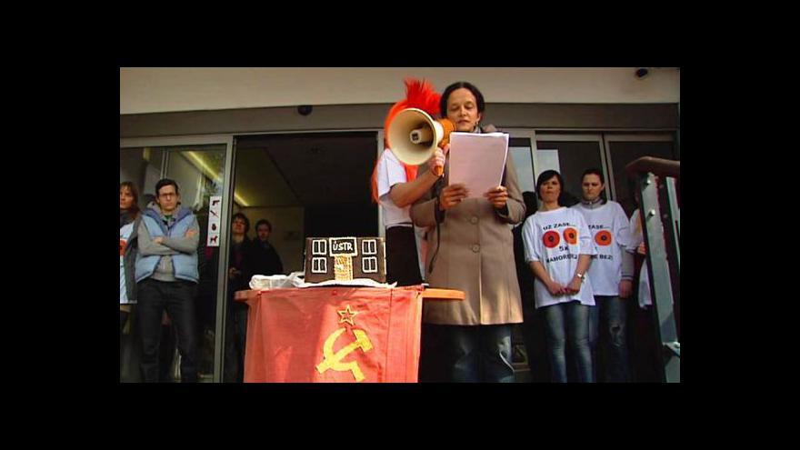 Video Vstup z protestu zaměstnanců ÚSTR