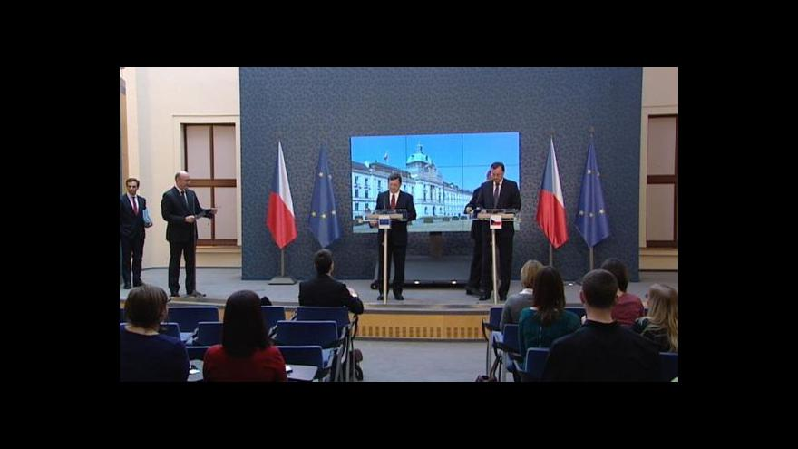 Video Premiér Petr Nečas jednal se šéfem Evropské komise