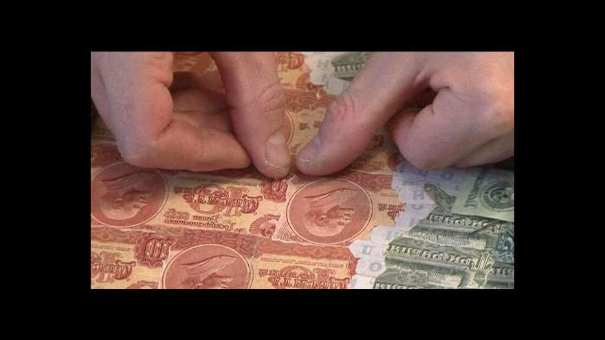 Video Bělorus Arinič je mistrem koláží z bankovek