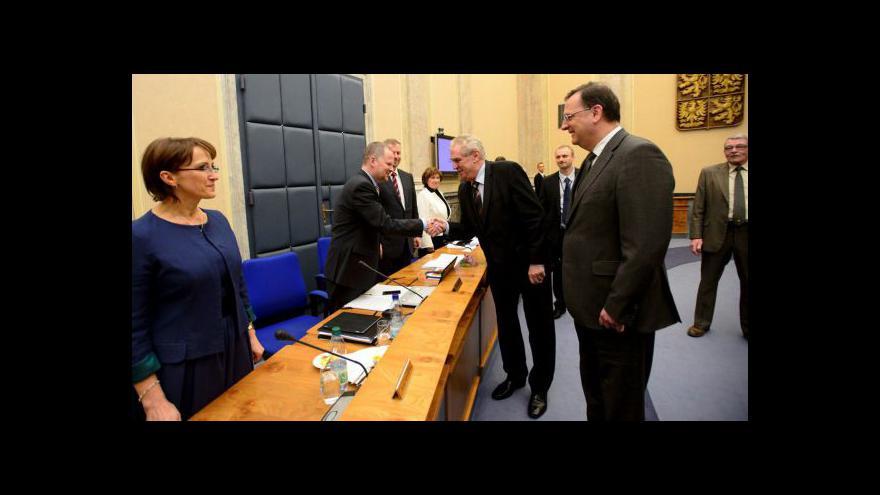 Video Zeman na prvním jednání vlády
