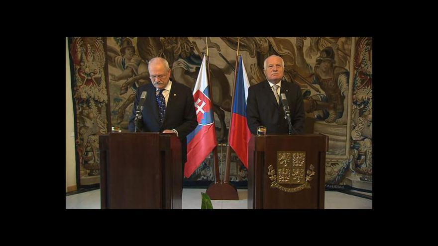 Video Václav Klaus přijal slovenského prezidenta