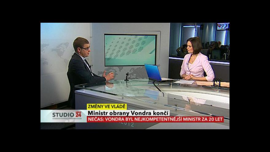 Video Studio ČT24 k odchodu Alexandra Vondry
