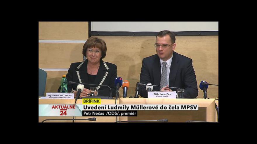 Video Uvedení Ludmily Müllerové do čela MPSV