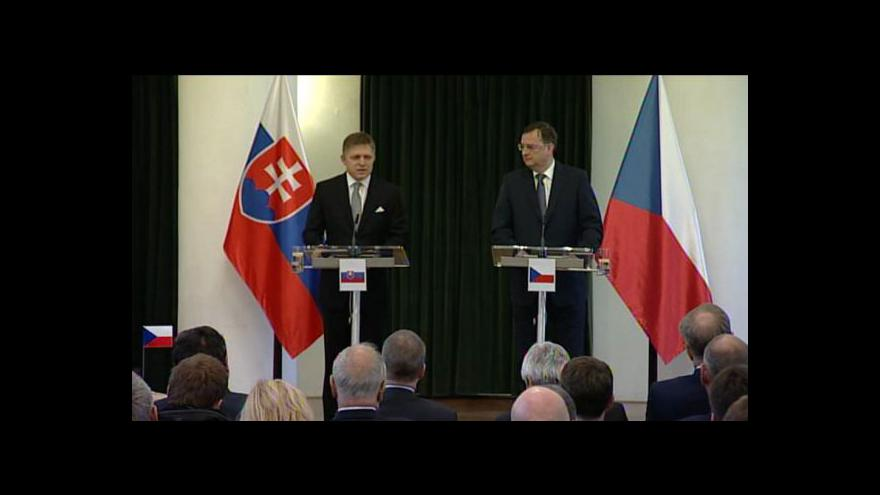 Video Brífink po společném zasedání české a slovenské vlády (U. Hradiště)