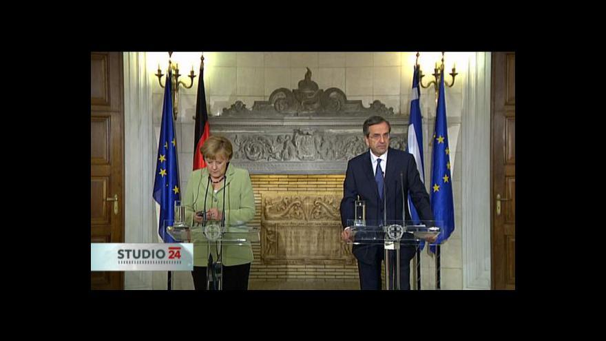 Video Tisková konference Angely Merkelové a Antonise Samarase