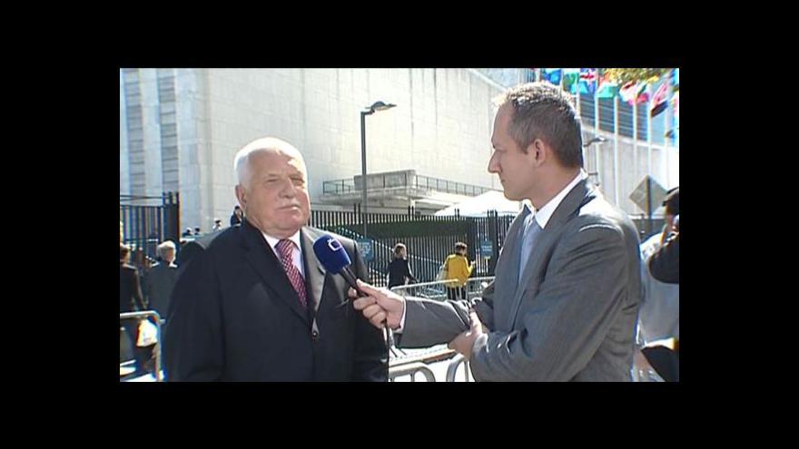 Video Václav Klaus před projevem v OSN