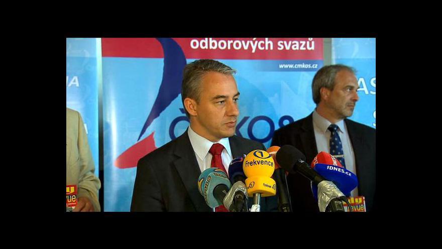 Video Josef Středula o rozpočtu, Klausově vetu a akcích odborů