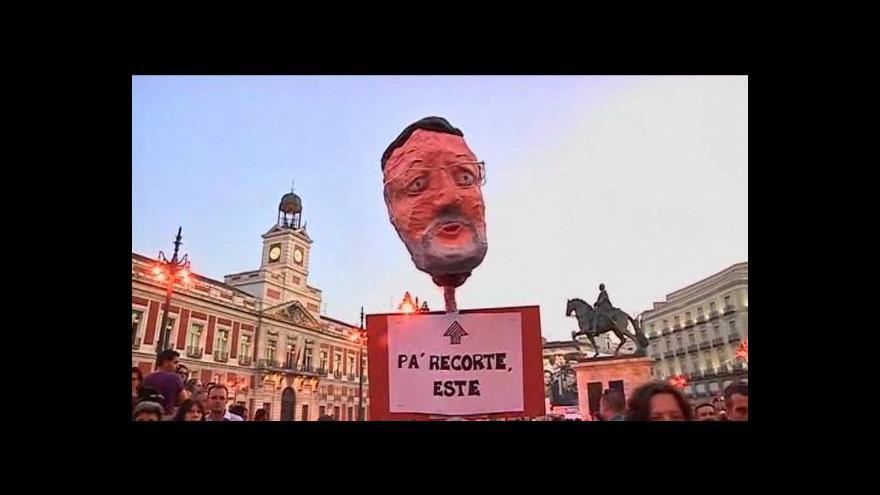 Video Protivládní demonstrace v Madridu