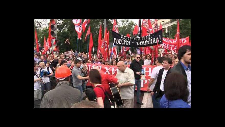 """Video Moskvou prošel """"pochod milionů"""""""