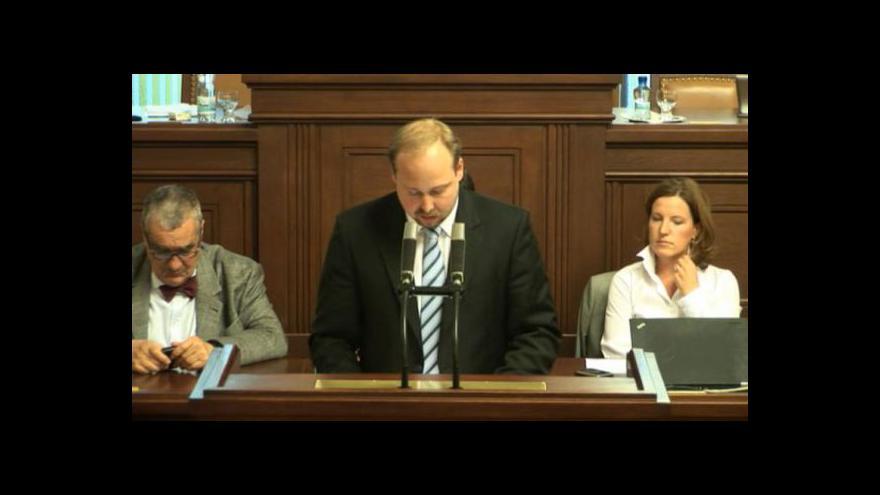 Video Projev Jeronýma Tejce v Poslanecké sněmovně