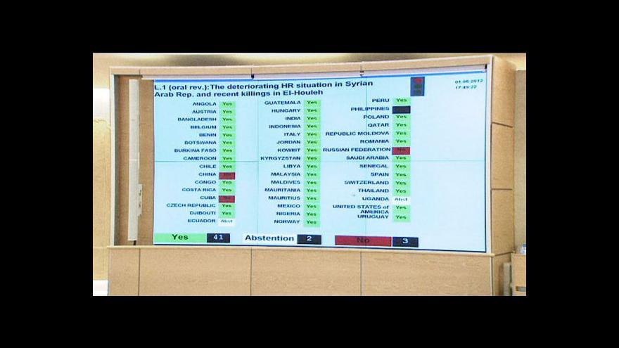 Video Rada OSN odsoudila masakr v Húlá