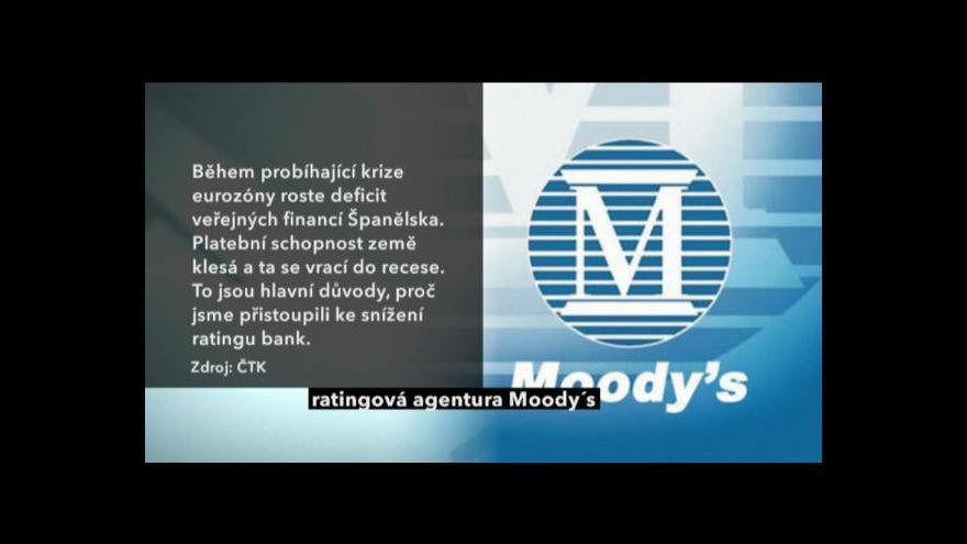 Video Moody's snížila rating španělských bank