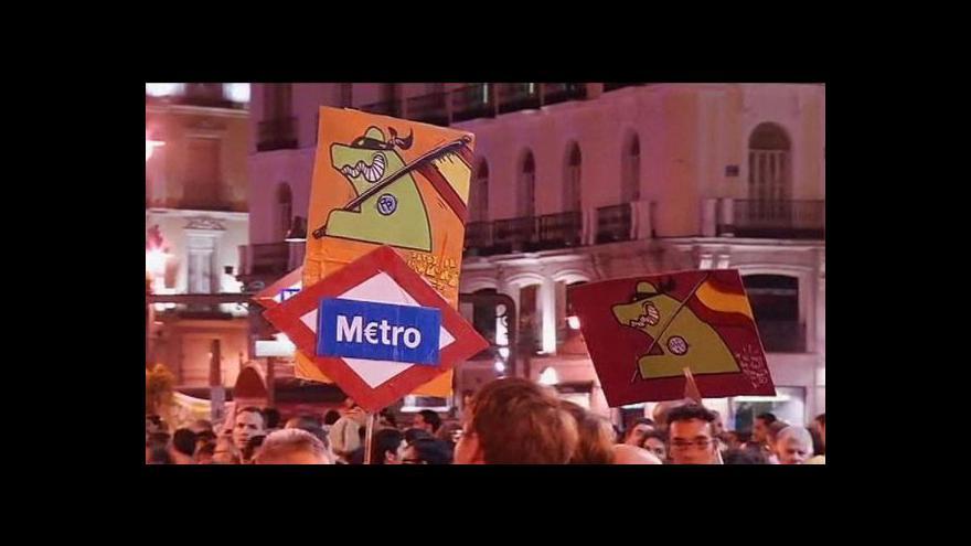 Video Španělé opět demonstrují